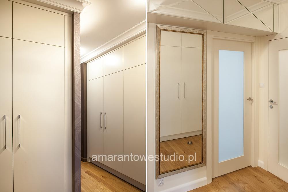 Wystrój korytarza - Zabudowa garderoby - Przestronny hol - Amarantowe Studio