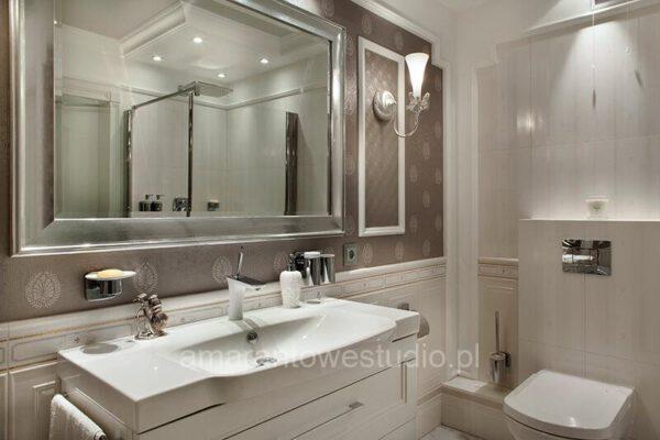 Szaro-biała łazienka wg projektu projektanta wnętrz Białystok
