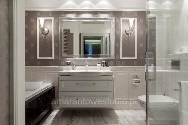 Łazienka w klasycznym stylu według projektu architekta wnętrz Białystok