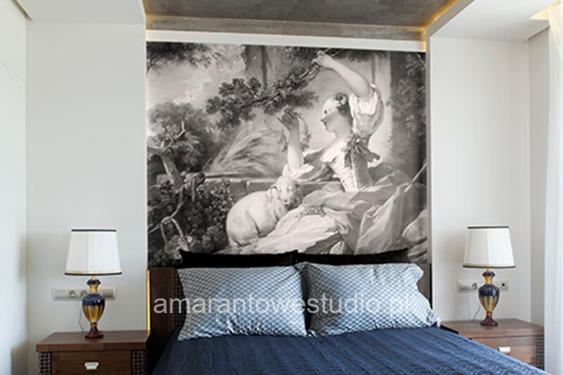 Sypialnia z fototapetą projektu projektanta wnętrz Białystok