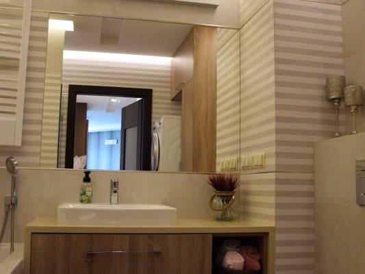 Pastelowa łazienka zaprojektowana przez projektanta wnętrz Białystok