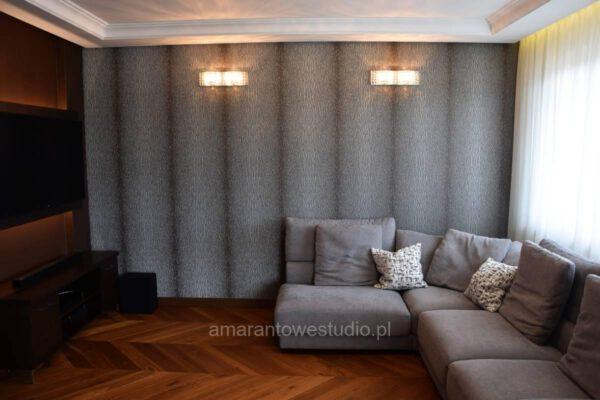 Zaprojektowane wnętrze salonu przez projektanta wnętrz Białystok