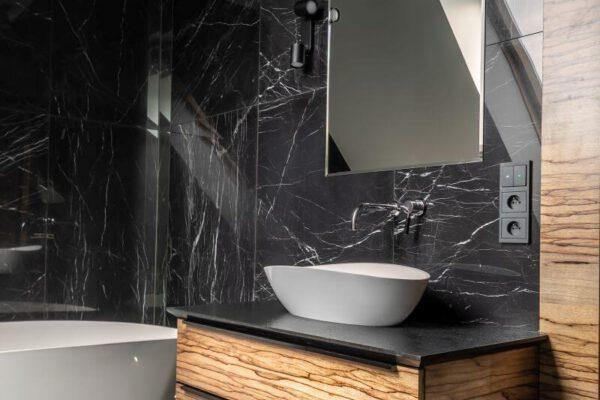 Zaprojektowana przez projektanta wnętrz łazienka - umywalka Białystok